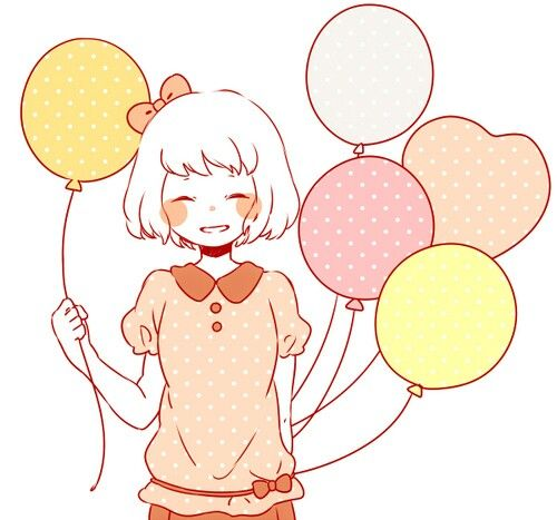 Nina Con Globos Anime Remi Caricatura Dibujos Kawaii Tiernos Chica Anime