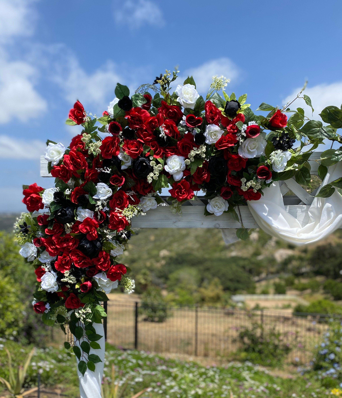 Wedding Flower Package Red Black Weddings Circle Arch Swag