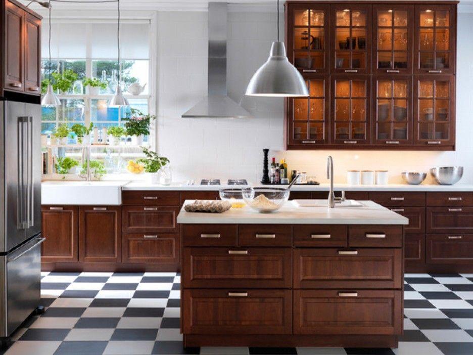 Gorgeous Teak Furniture Kitchen Cabinet Style Come With Wall Mounted Teak Chocolate Slee Contemporary Kitchen Decor Ikea Kitchen Design Checkered Floor Kitchen