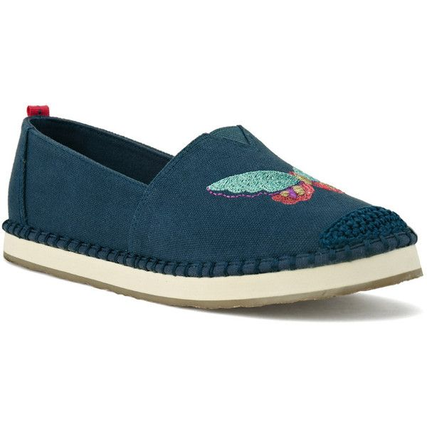 Sakroots Women's Echo Critters ($60) ❤ liked on Polyvore featuring shoes, apparel & accessories shoes, navy butterfly canvas, navy blue flat shoes, navy blue flats, butterfly shoes, navy espadrilles and loafer shoes