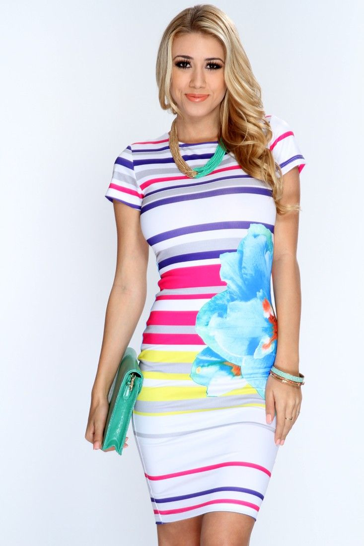 Complete your spring look with this stylish dress! Keep your style fresh and sweet this season, youll sure be eye catching wherever you go! Add this flirty dress to your collection, youll love it the moment you try it on! It features floral/striped print, round neckline, short sleeves, and tight fitted. 96% Polyester 4% Spandex. Made in USA.