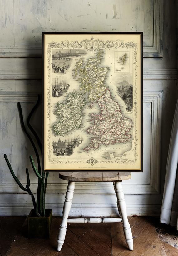 British Isles map -  Old map of British Isles - Old map fine print - Archival  giclee print, available on fine coated paper or canvas #britishisles