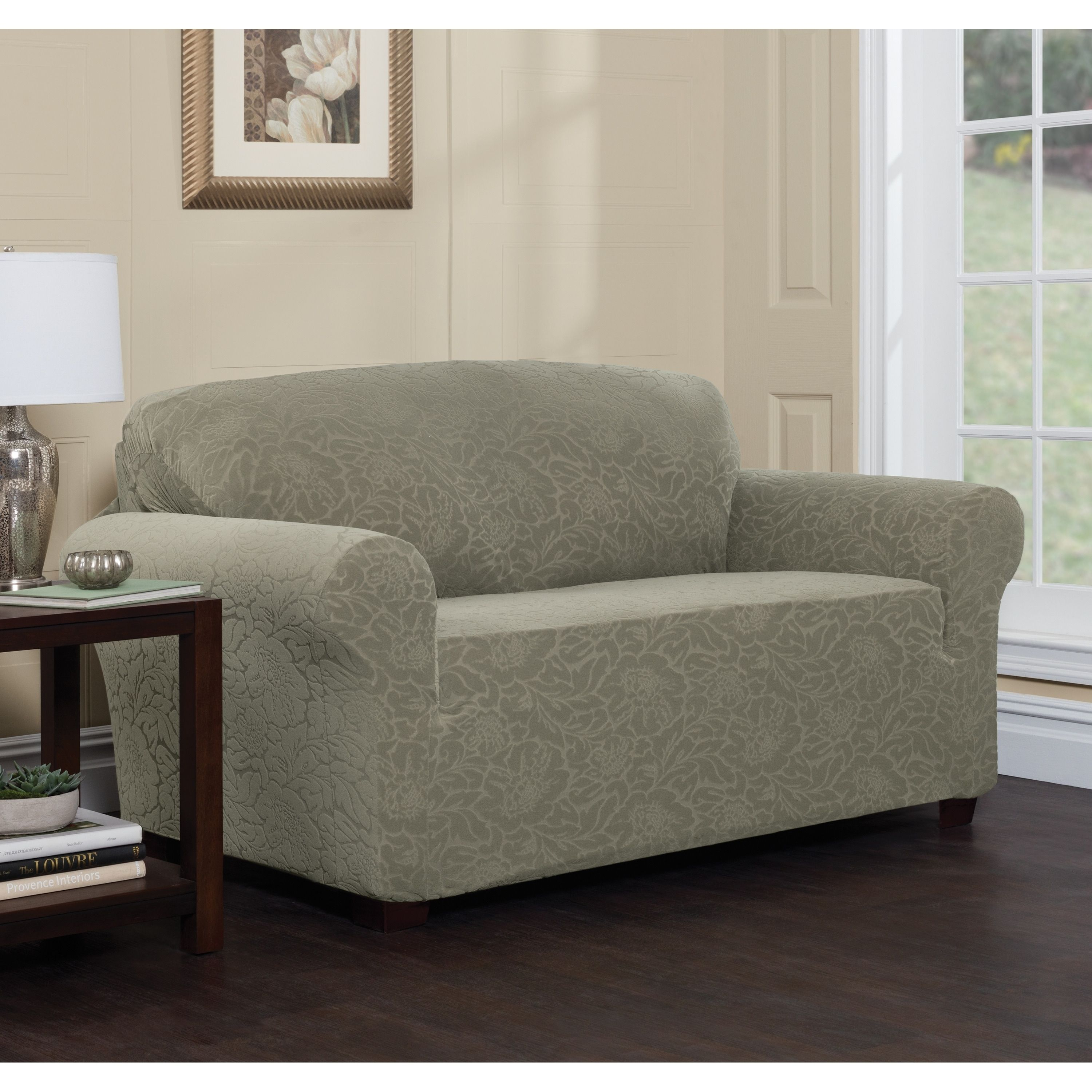 Polyester Sofa Washing Machine Leather Motion And Loveseat Stretch Sensations Floral Slipcover Green Wash