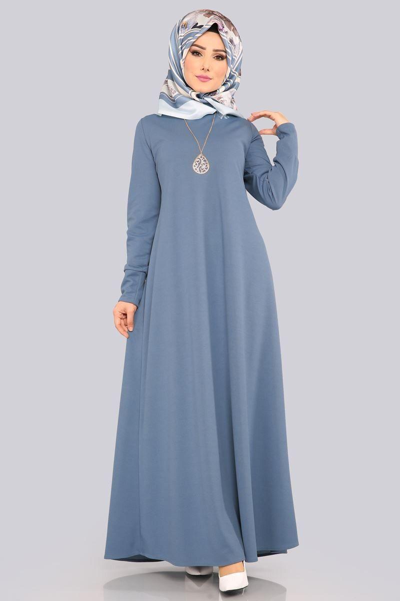 Kolyeli Boydan Tesettur Elbise Edf4107 Acik Indigo Elbise Modelleri Islami Giyim Elbise
