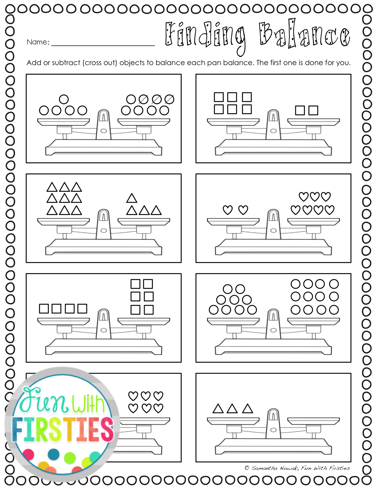 Balancing Equations: Print \u0026 Go! worksheets for extra practice and/or  assessment   First grade math worksheets [ 1652 x 1277 Pixel ]