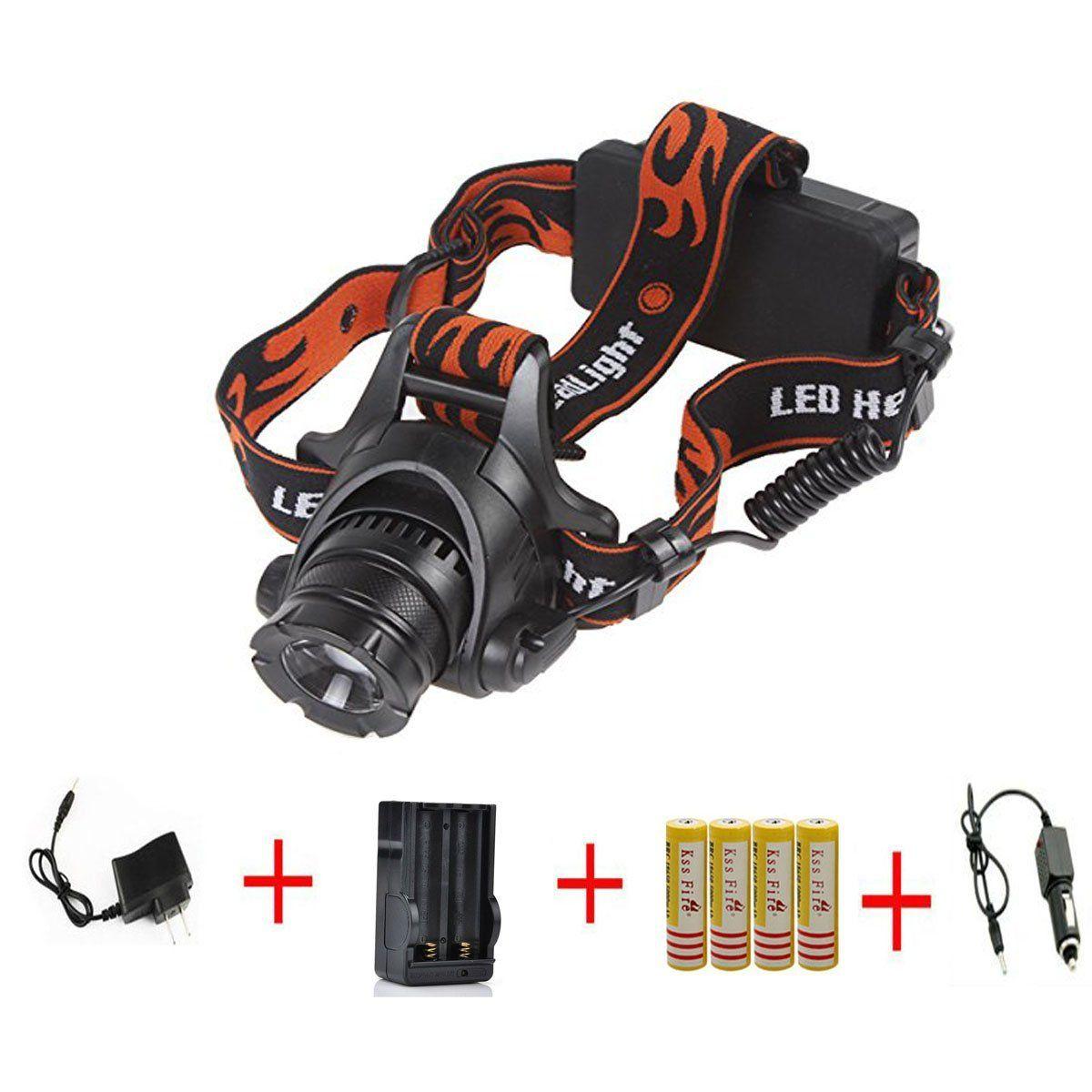 Kssfire Zoomable 1800 Lumens Cree Xm L T6 U2 Led Waterproof 3 Modes High Power Headlamp 5000 Black