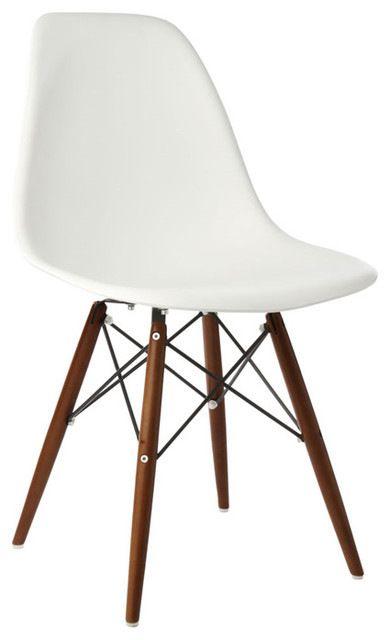 Dsw White Mid Century Modern Plastic Dining Shell Chair W Dark