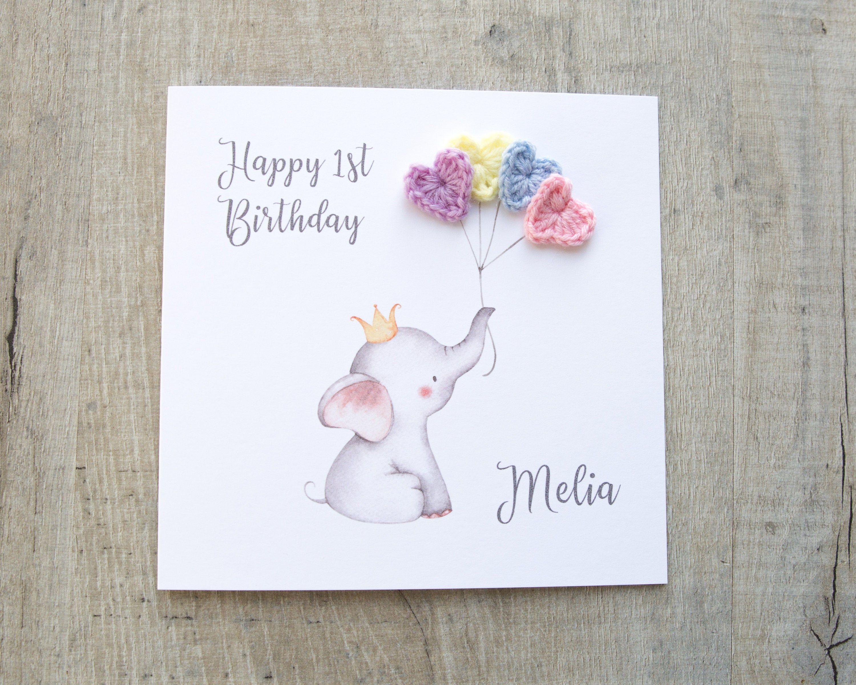 Personalised Happy Birthday Card Elephant Birthday Card Etsy 1st Birthday Cards Happy Birthday Cards First Birthday Cards