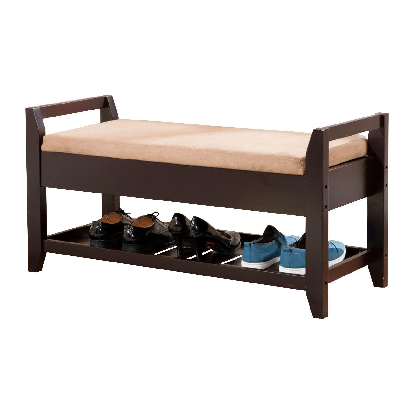 Fabulous Taika Storage Shoe Bench Dark Brown Fabric Espresso Wood Squirreltailoven Fun Painted Chair Ideas Images Squirreltailovenorg