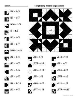 Simplifying Radical Expressions Color Worksheet | Radical ...