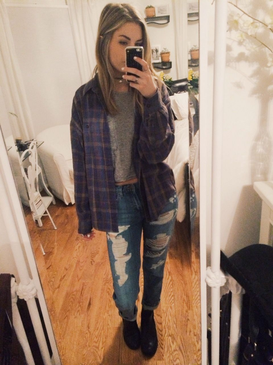 Flannel jeans and boots  hi babes casual on this friday  topshop boyfriend jeans