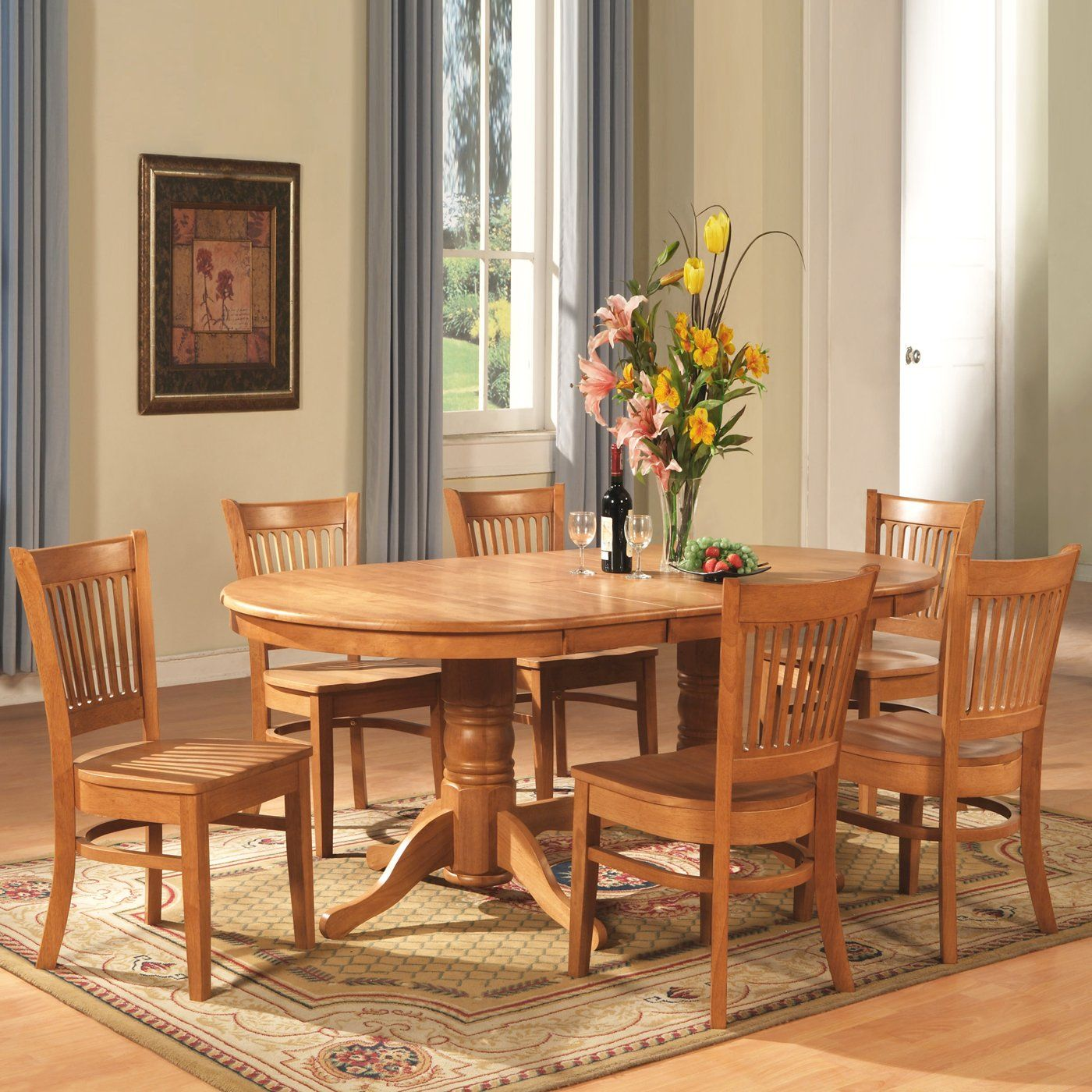 East West Furniture 8 piece Vancouver Oval Table Dining Set Oak