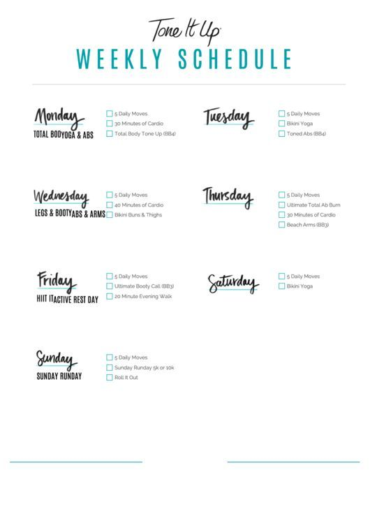 Need a Weekly Workout Schedule? Here's a free template! Create ready