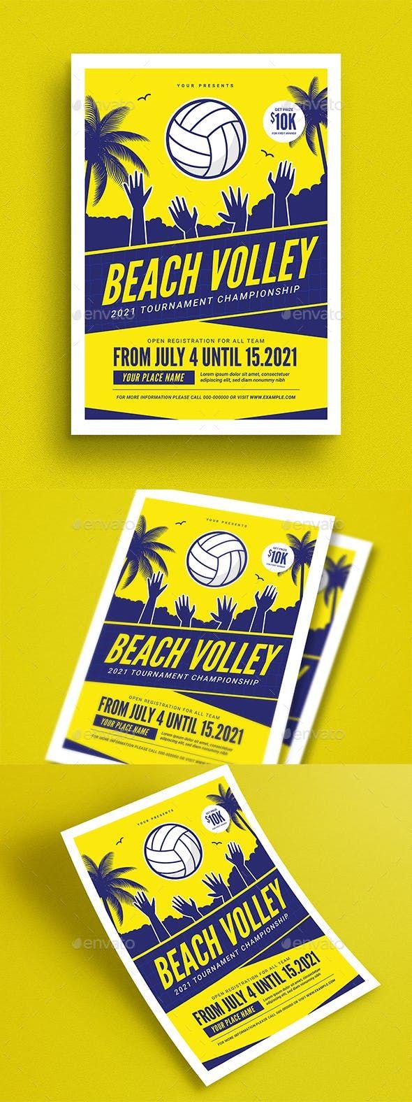 Beach Volleyball Tournament Flyer Disenos De Unas Voleibol Publicidad