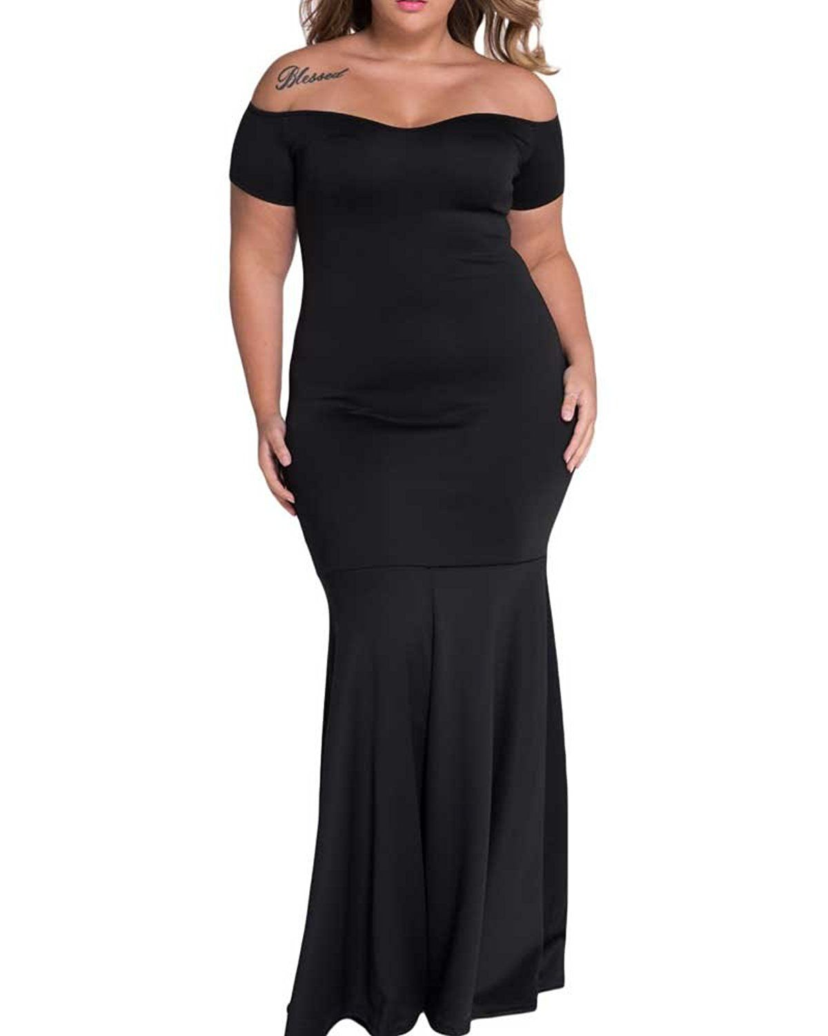 183ce539e47 Pyramid Top Women s Plus Size Off Shoulder Backless Bodycon Maxi Long Dress     Startling review available here   homecoming dresses