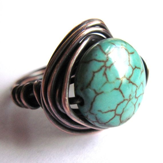 Copper Wire Wrapped Boho Ring Turquoise by gimmethatthing on Etsy, £11.50