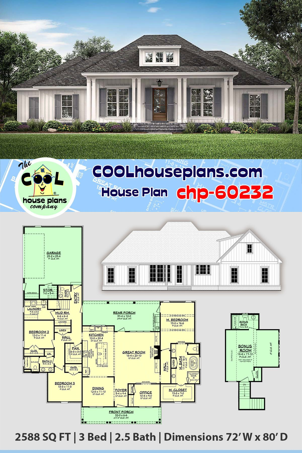 Southern Style House Plan 56711 With 3 Bed 3 Bath 2 Car Garage French Country House Plans Acadian Style Homes House Plans