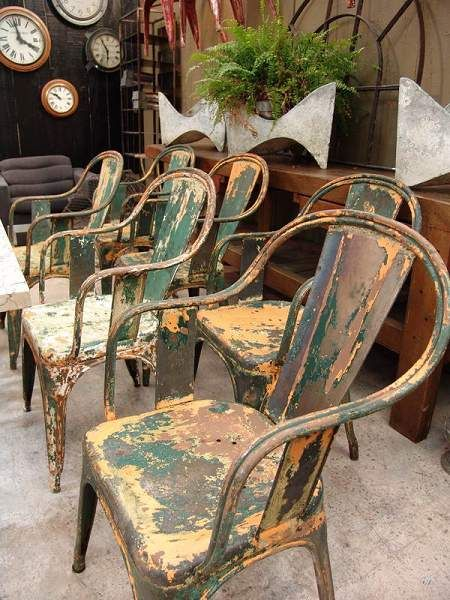 Set Vintage Fauteuils.Set Of 6 Tolix Vintage Multicolored C Armchair Fauteuils Sold