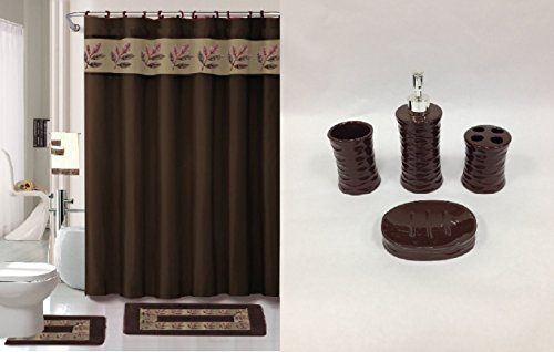 chocolate brown bathroom accessories. Bathroom Rugs Ideas  22 Piece Bath Accessory Set Chocolate Brown Rug Shower Curtain