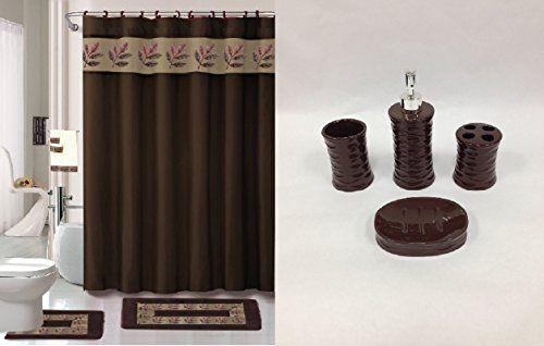 Bathroom Rugs Ideas 22 Piece Bath Accessory Set Chocolate Brown