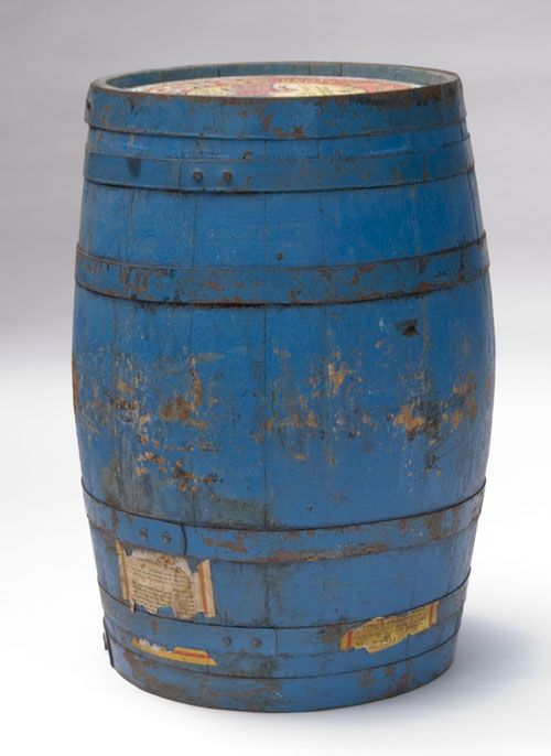 Original Old Blue Paint Antique Wooden Advertising Barrel With Images Antique Wooden Barrel Wooden Barrel Primitive Decorating Country