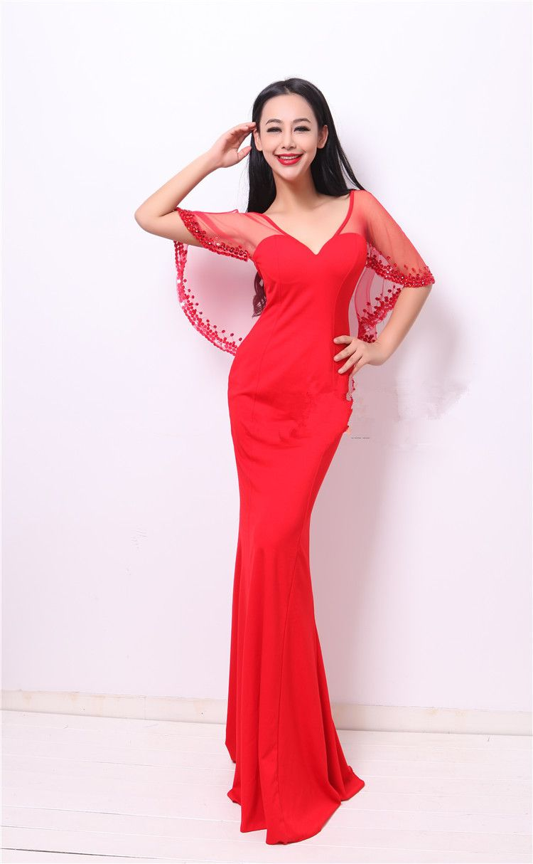 Click to buy ucuc free shipping jersey vneck party gowns formal long