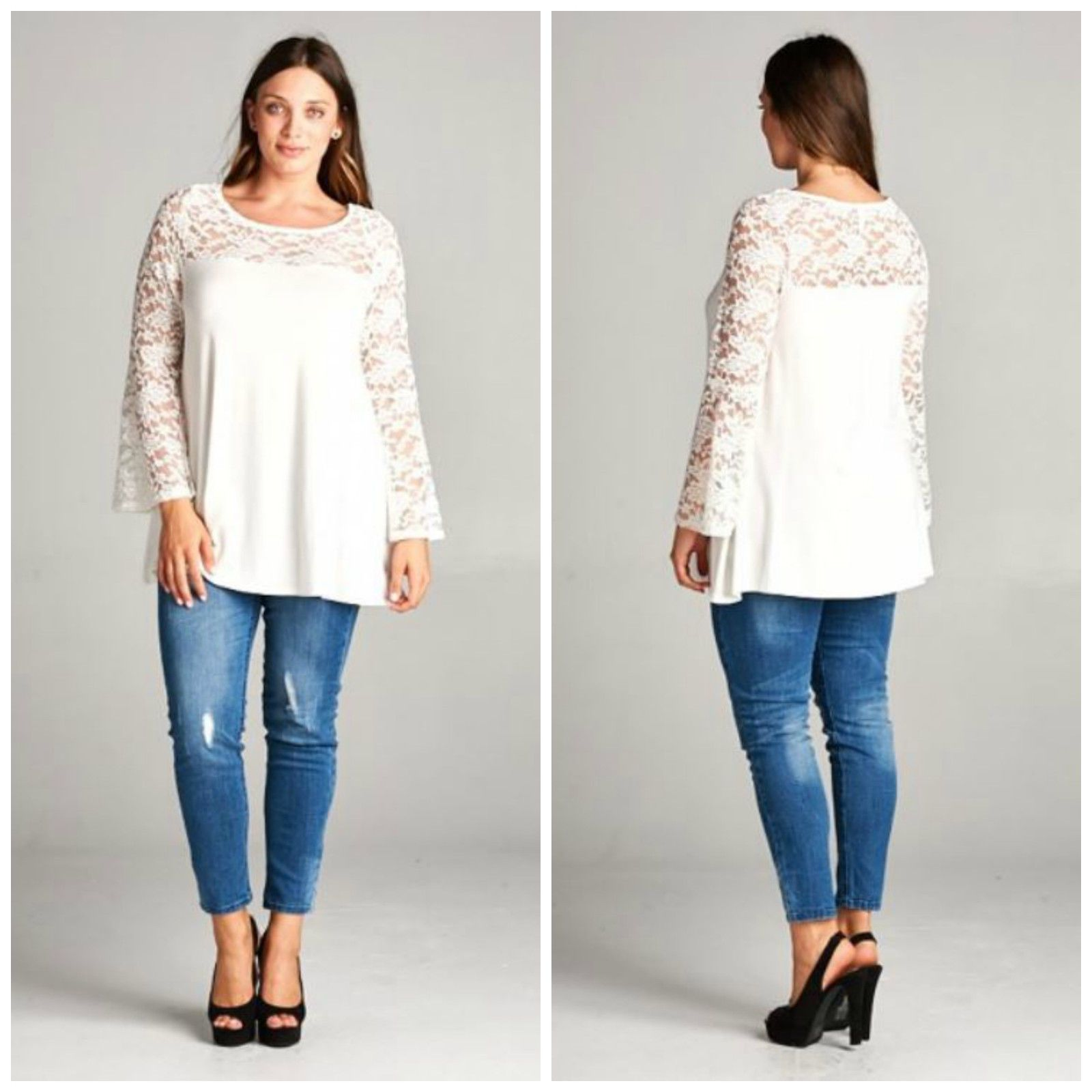 New white long sleeve lace womens top blouse boho western plus size