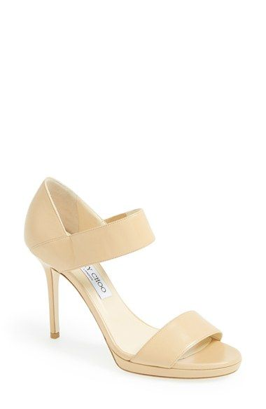 20f14dd9bb3 Jimmy Choo Alana Platform Sandal in color nude. An Italian-leather platform  pump keeps things simple and elegant with cleanly styled straps and a  slender