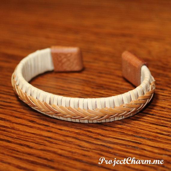Custom Nantucket Basket Bracelet With Cherry Wood Caps