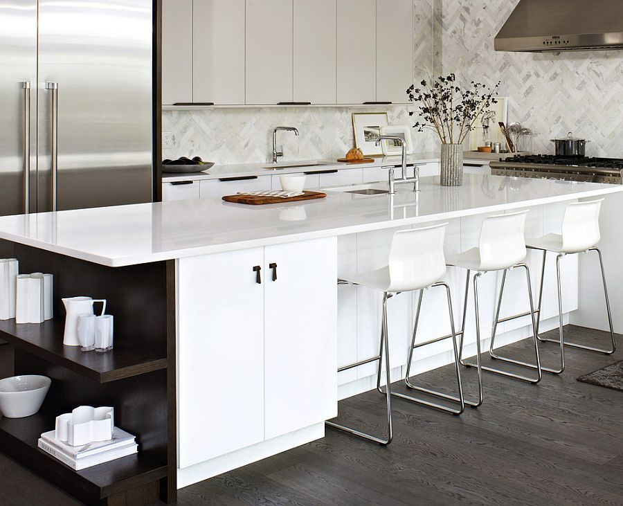 Delightful Kitchen Island With Open Shelves Part - 6: Trendy Display: 50 Kitchen Islands With Open Shelving