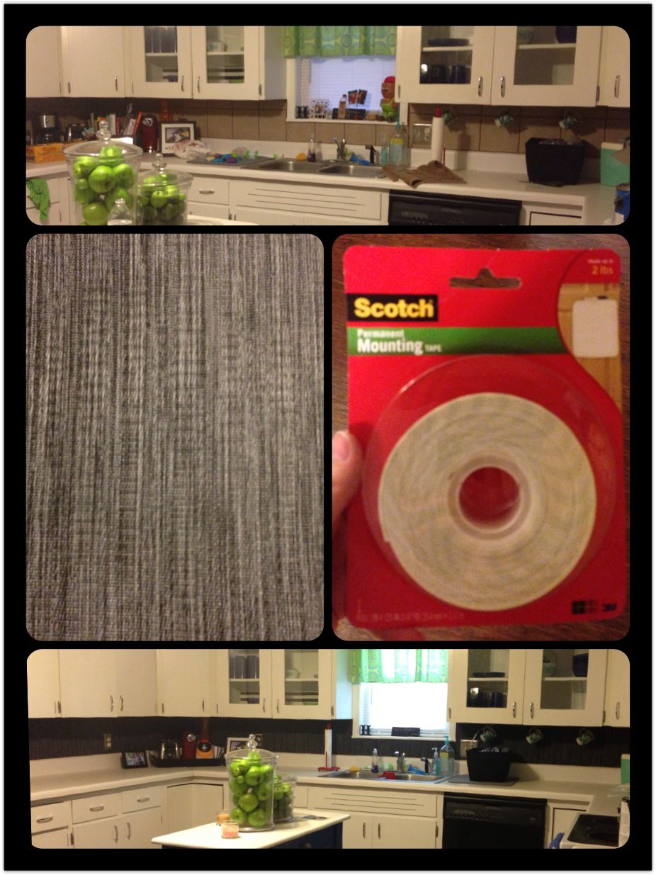 Cheap Backsplash Makeover Upgrade Vinyl Target Placemats Scotch Permanent Mounting Tape