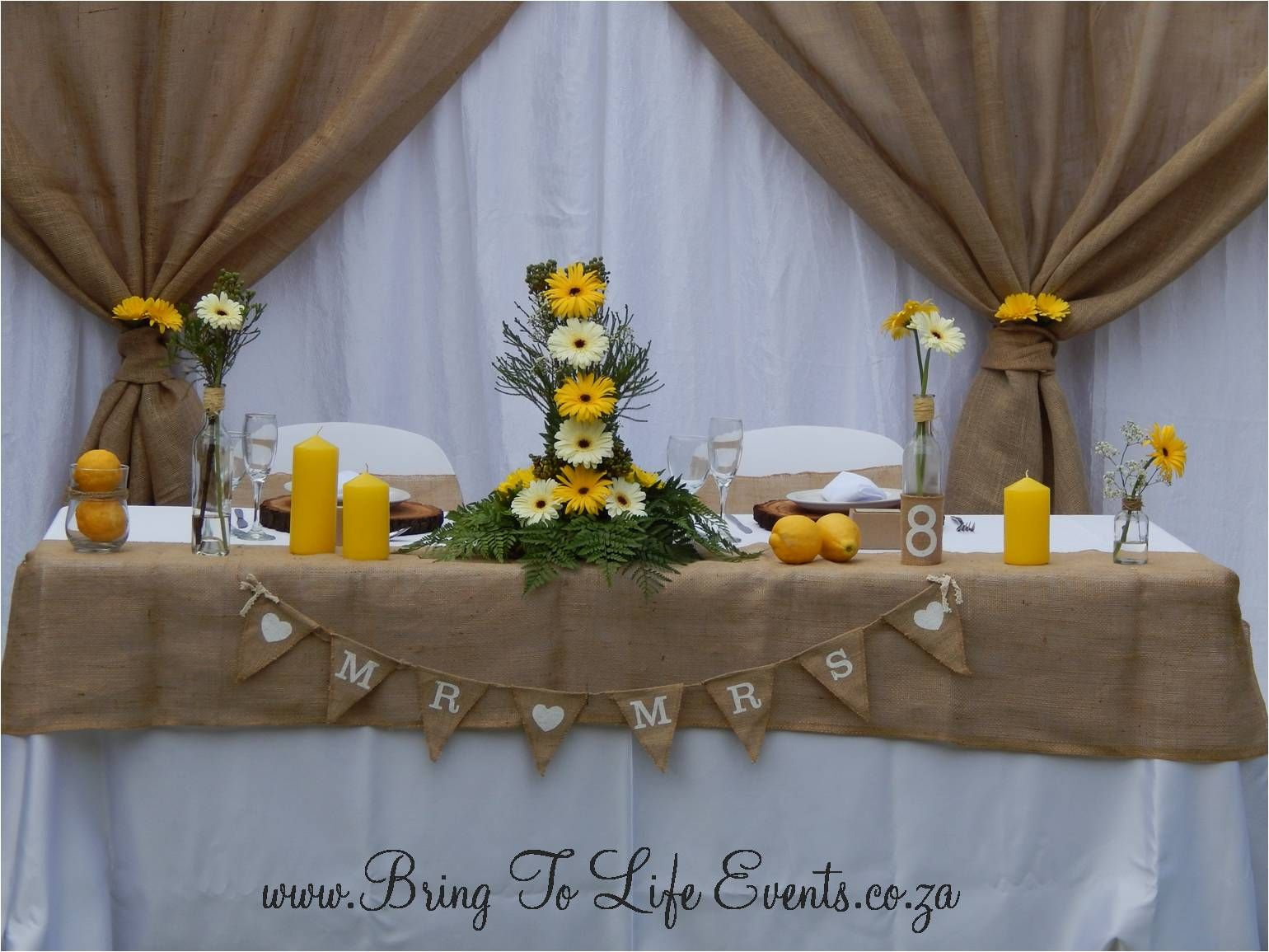 Rustic Garden Wedding Main Table With Hessian Backdrop Draping