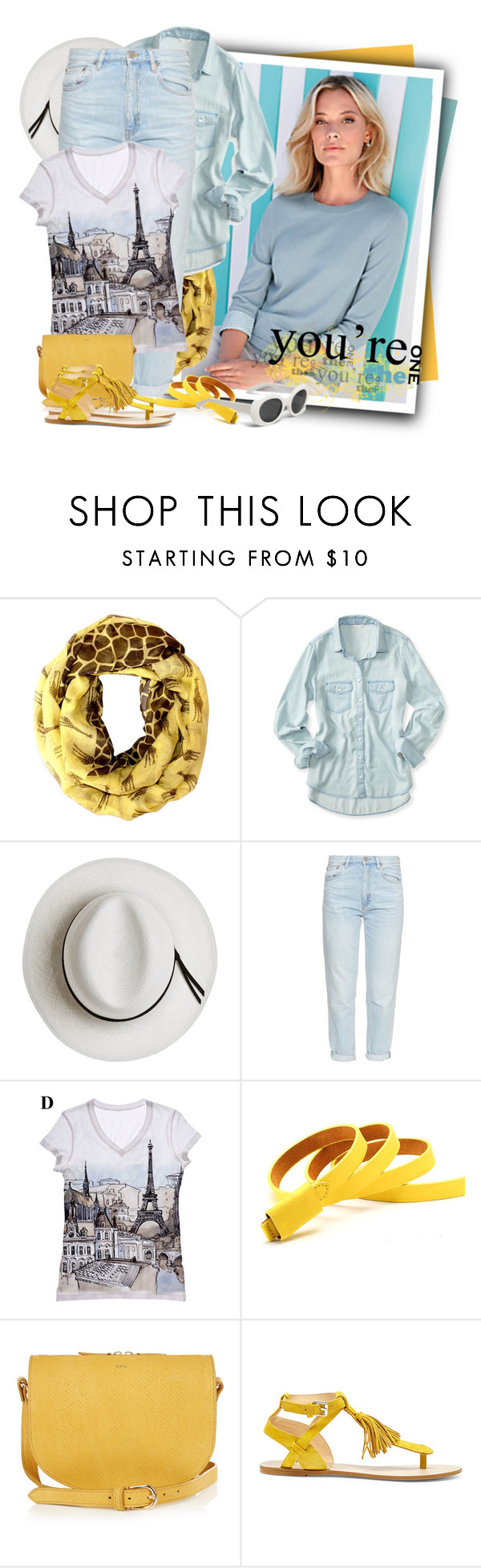 """""""Sole Society Pandora Fringe Flat Sandal"""" by tasha1973 ❤ liked on Polyvore featuring Hahn, Aéropostale, Calypso Private Label, M.i.h Jeans, A.P.C. and Sole Society"""