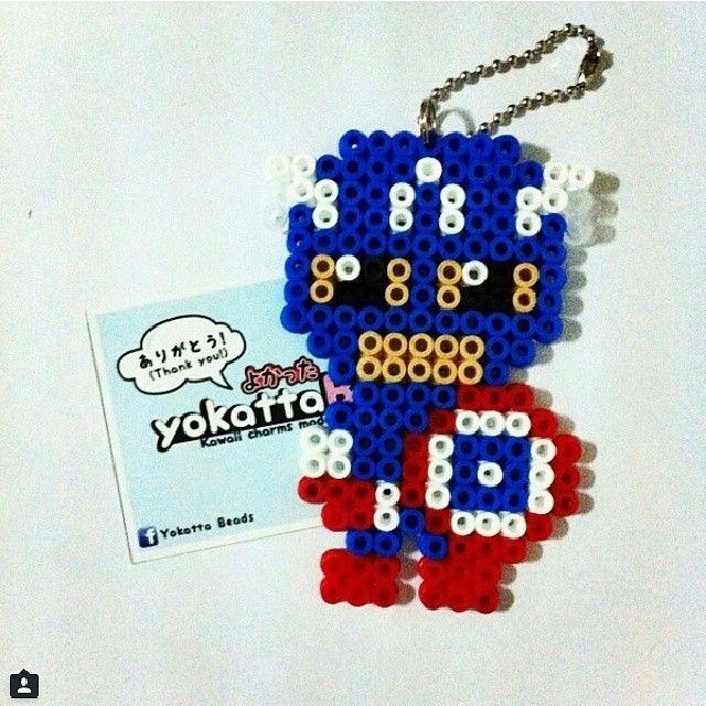Captain America perler beads by yokattabeads