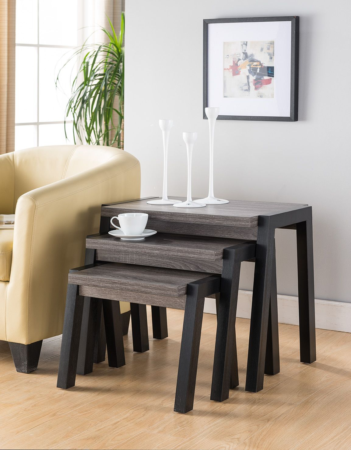 161610X3 Smart Home Black & Distressed Grey Chairside End