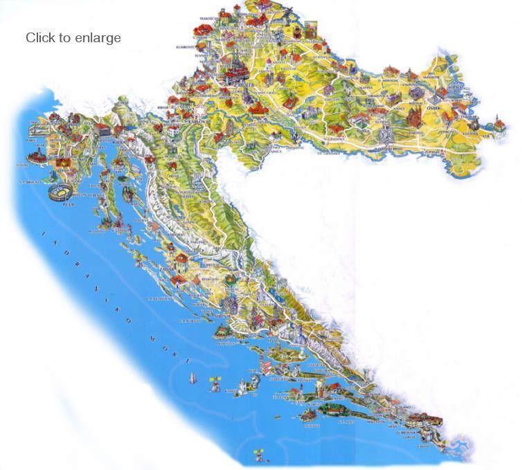 Map Of Croatia Points Of Interest Reizen Kroatie Kroatie Camper