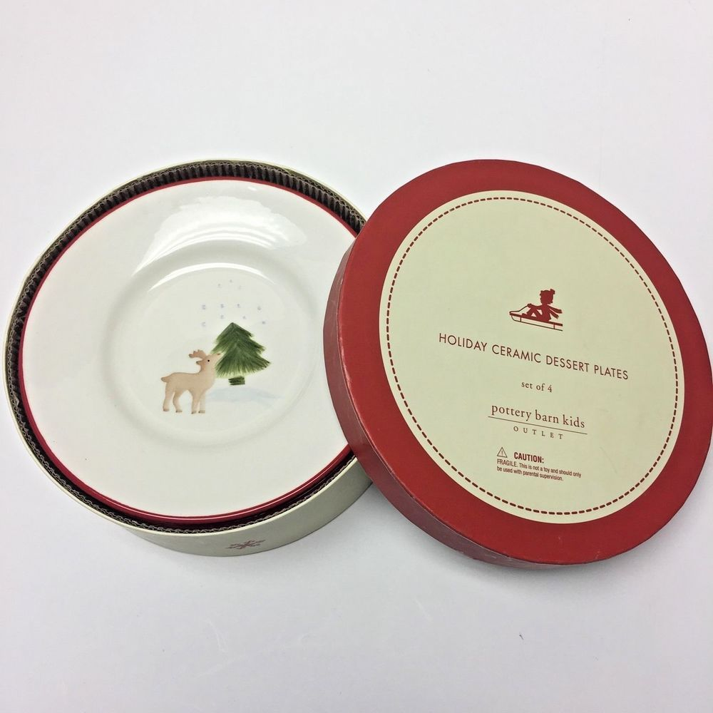 Pottery Barn Kids Set 4 Reindeer Christmas Tree Holiday Dessert ...