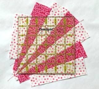 """Look how she has done some strip piecing and then squared up with a ruler for a 6"""" finished fan block! How fun would this be in strings? Very nice."""