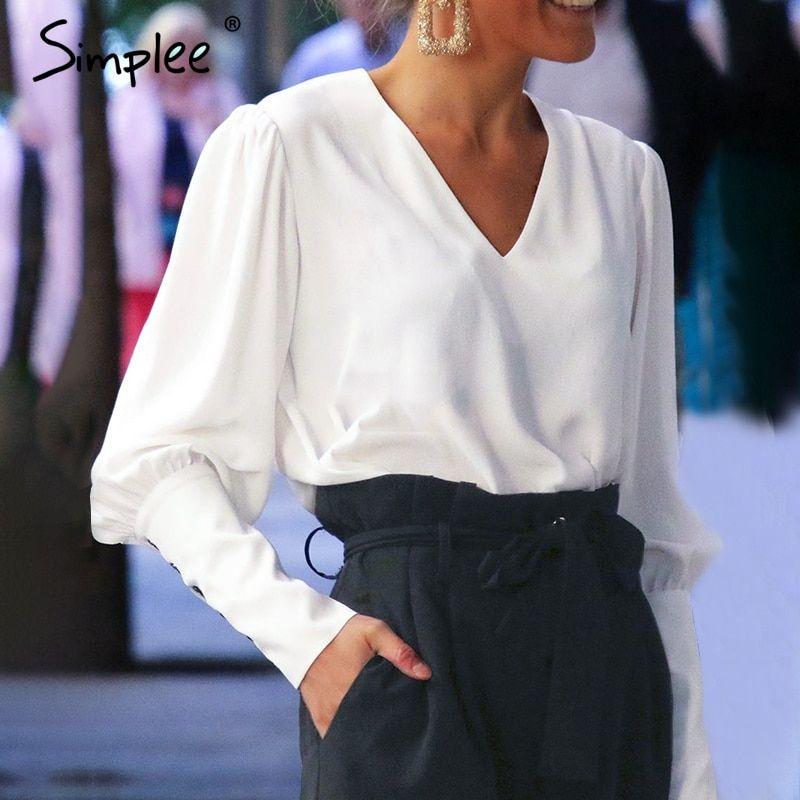2425f160270c93 Simplee Puff Sleeve Women Blouse Shirt Button White V Neck Tops Spring 2019  Elegant Office Lady Streetwear Blusas Women Shirts