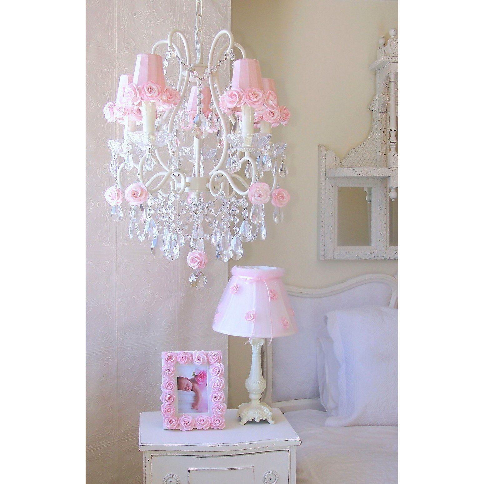 5Light Antique White Chandelier with Pink Rose Shades