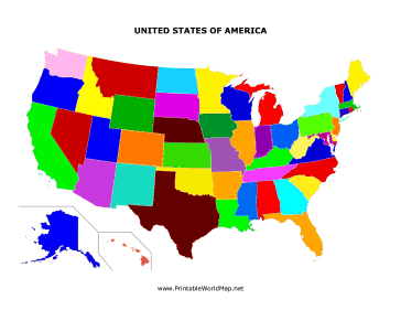 The United States Has Different Colored States In This Printable - Different us map