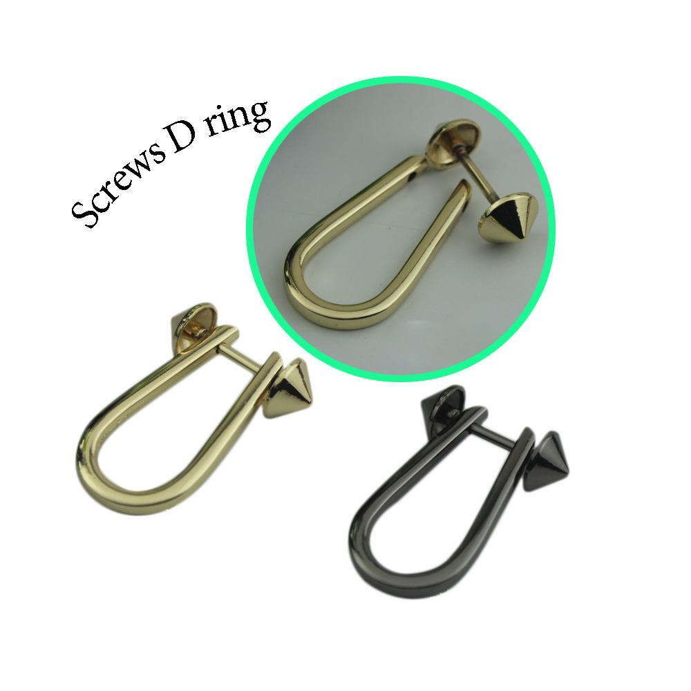 10 Pieces Gold D Rings O Ring With Screw Clasp Round Split Bag