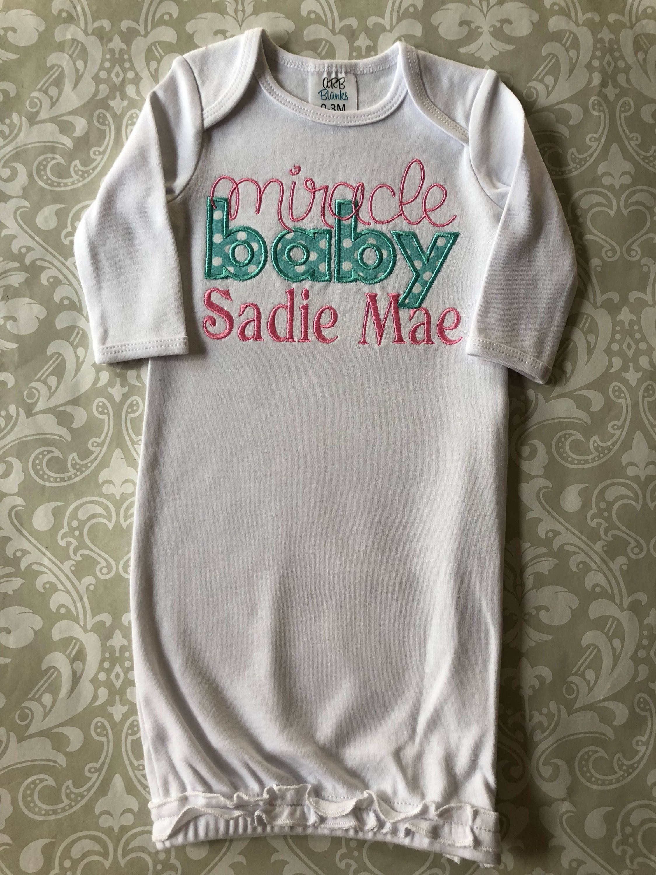 Miracle baby applique baby gown, going home outfit, baby shower gift ...