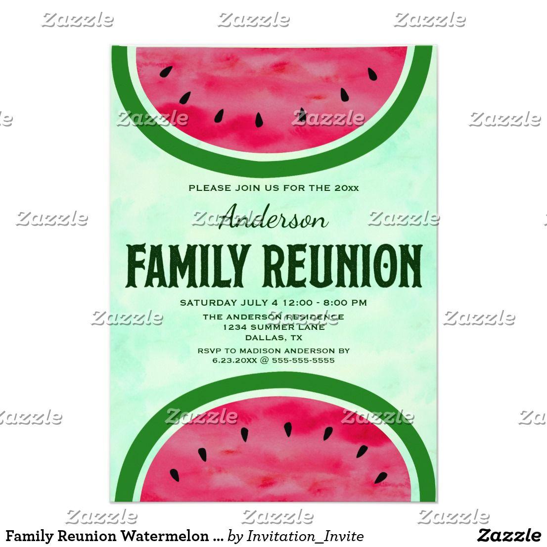 Family Reunion Watermelon Halves Invitation This family reunion ...