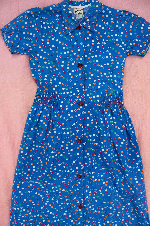 Vintage us cotton polka dot button up dress short sleeve