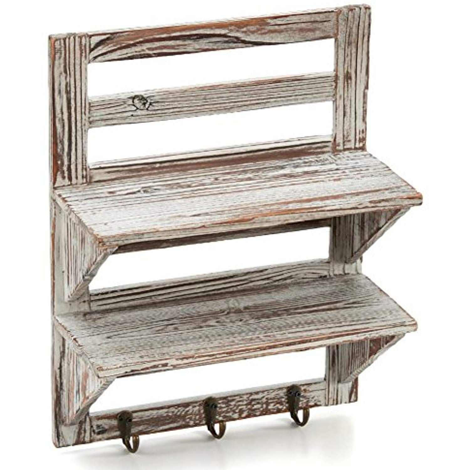 Rustic Torched Wood Wall Mounted Entryway Organizer Display Rack w// 4 Key Hooks