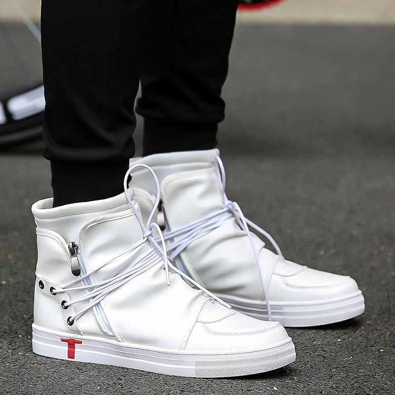 5e5926a9f70 [ 49% Off ] New Men Casual Shoes Justin Bieber Pu Leather Men High Top  Shoes Fashion Lace Up Breathable Hip Hop Shoes Men Black White