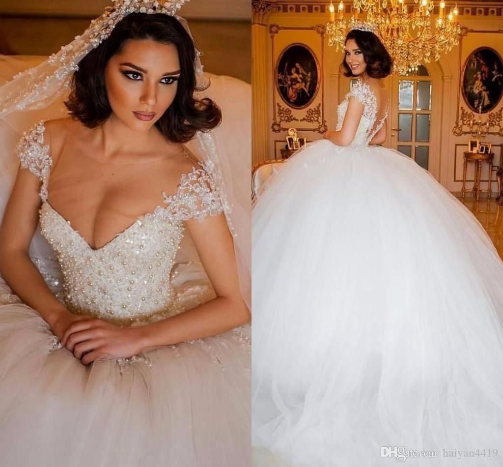 Gorgeous Sheer Ball Gown Wedding Dresses 2017 Puffy Beaded: 2016 New Luxury Puffy Ball Gown Wedding Dresses Jewel Neck