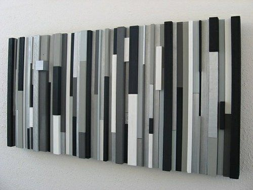 Modern wood wall art sculpture black white greys silver mommy must make pinterest wall art sculpture wood wall art and wood walls