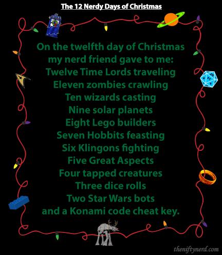 On The 12 Days Of Christmas Lyrics.Pin On A Very Geeky Christmas